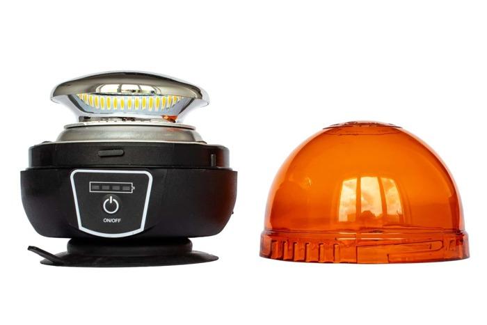 Lampa błyskowa ostrzegawcza akumulator LED kogut 14539